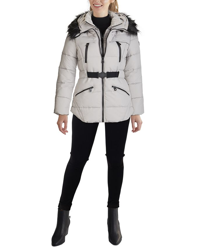 GUESS - Faux-Fur Trim Hooded Belted Puffer Coat