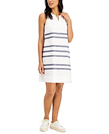 Linen Striped Fringe-Hem Dress, Created for Macy's
