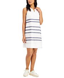 Charter Club Linen Striped Fringe-Hem Dress, Created for Macy's