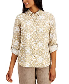 Printed Roll-Tab Blouse, Created for Macy's