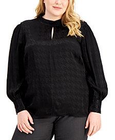 Plus Size Mock-Neck Keyhole Blouse, Created for Macy's