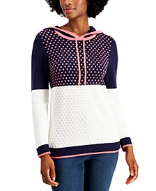 Petite Colorblocked Sweater Hoodie, Created for Macy's