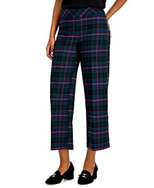Plaid Wide-Leg Cropped Pants, Created for Macy's