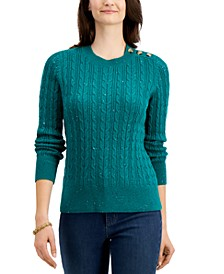 Petite Donegal Cable-Knit Sweater, Created for Macy's