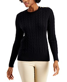 Button-Shoulder Sweater, Created for Macy's