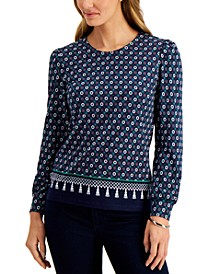 Geometric-Print Puff-Sleeve Top, Created for Macy's