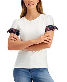 Cotton Contrast-Cuff Top, Created for Macy's