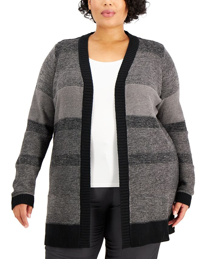 Karen Scott - Plus Size Textured Open-Front Cardigan