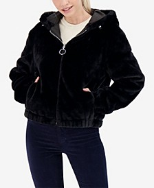 Junior's Teddy Reversible Faux Fur Hooded Bomber