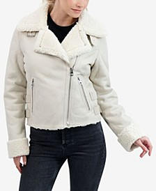 Junior's Faux Shearling Moto Coat