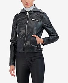 Junior's Faux Leather Detachable Knit Hood Moto Jacket