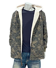 Men's Big & Tall Reversible Sherpa Lined Hooded Jacket