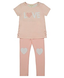 "Toddler Girl Short Sleeve Stripe Top with Plush Embroidery ""Love"" with Legging Set and Crystalline Heart on Knees"