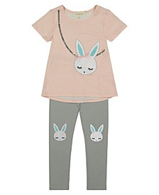 Toddler Girl Short Sleeve Stripe Top with Sequin and Print Bunny with Legging Set and Glitter Bunny on Knees