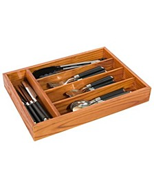 Extra Deep 5 Divided Compartment Rustic Pine Wood Cutlery and Flatware Drawer Storage Organizer Tray