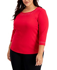Plus Size Embellished 3/4-Sleeve Cotton Top, Created for Macy's