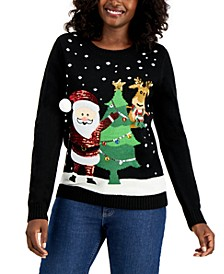 Sequined Santa Holiday, Regular & Petite Sizes, Created for Macy's