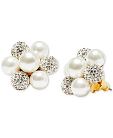 Gold-Tone Pavé Fireball & Imitation Pearl Cluster Stud Earrings