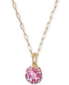"Gold-Tone Pavé Fireball Mini Pendant Necklace, 17"" + 3"" extender"