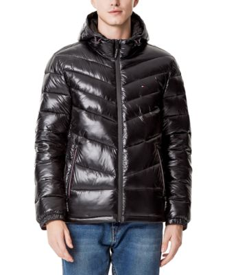 Men's Chevron-Quilted Water-Resistant Hooded Puffer Jacket, Created for Macy's