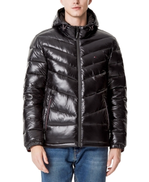 Tommy Hilfiger Men's Chevron-Quilted Water-Resistant Hooded Puffer Jacket, Created for Macy's