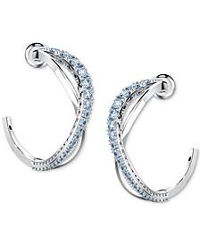 "Silver-Tone Small Crystal Intertwined Open Hoop Earrings, 1"""