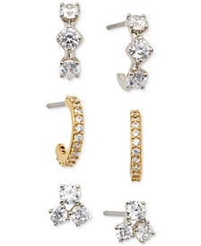 Two-Tone 3-Pc. Set Cubic Zirconia Stud and Hoop Earrings, Created for Macy's