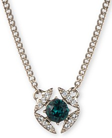 """Stone & Crystal Pendant Necklace, 16"""" + 3"""" extender"""