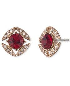 Stone & Crystal Halo Stud Earrings