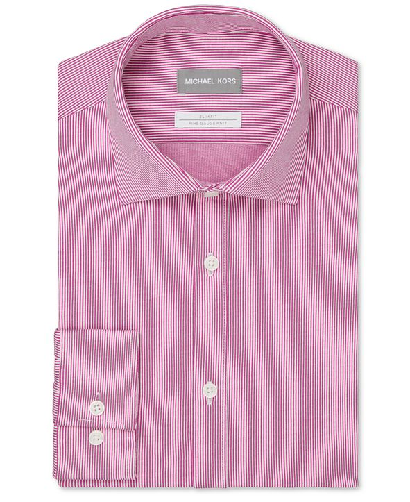 Michael Kors Men's Slim-Fit Non-Iron Performance Stretch Stripe Knit Dress Shirt