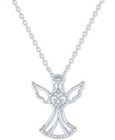 "Diamond Accent Angel Pendant Necklace in Sterling Silver, 16"" + 2"" extender"