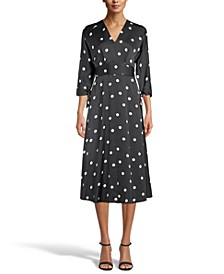 Polka-Dot Tie-Sleeve Midi Dress