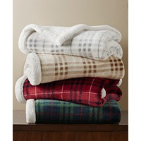 Deals on Martha Stewart Collection Sherpa Plaid Throw