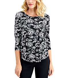 JM Collection Tiana Printed Top, Created for Macy's