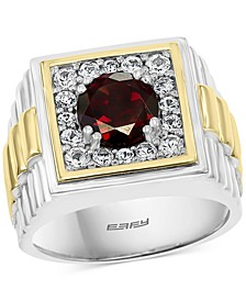 EFFY® Men's Rhodolite Garnet Ring (2-1/4 ct. t.w.) & White Sapphire (3/4 ct. t.w.) in Sterling Silver & 18k Gold-Plate
