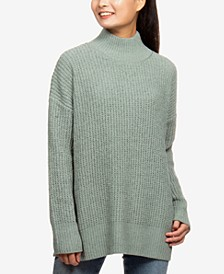 Juniors' Mock-Neck Boxy Tunic Sweater