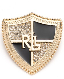 Gold-Tone Pavé & Jet Logo Shield Pin