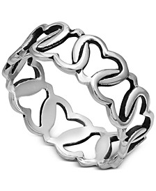 Interlocking Heart Band in Sterling Silver, Created for Macy's