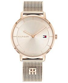 Women's Carnation Gold-Tone Stainless Steel Mesh Bracelet Watch 35mm