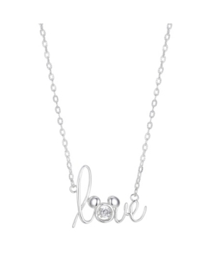 """Two-Tone Mickey Mouse Cubic Zirconia """"Love"""" Pendant Necklace in Fine Silver Plate"""