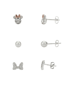Two-Tone Cubic Zirconia Minnie Mouse Earring Set with Imitation Pearl and Bow