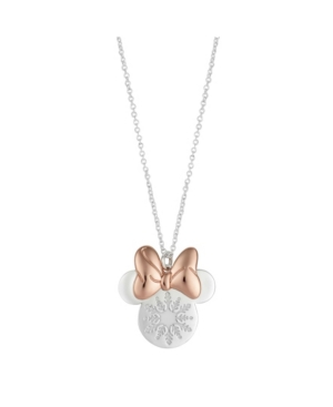 Minnie Two-Tone Mouse Snowflake Pendant Necklace in Fine Silver Plate