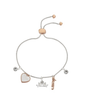 "Two-Tone ""Dream"" Princess Cubic Zirconia Charm Bolo Bracelet in Fine Silver Plate"