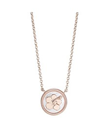 Rose Gold-Tone Lilo and Stitch Mother-of-Pearl Pendant Necklace in Fine Silver Plate