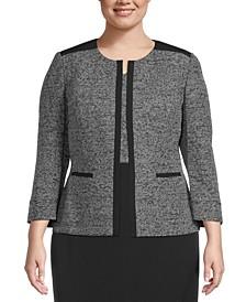 Plus Size Collarless Tweed Jacket
