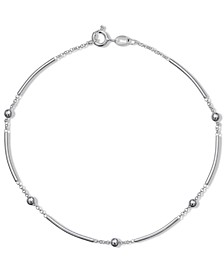 Polished Bar & Bead Ankle Bracelet in Sterling Silver, Created for Macy's