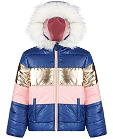 Big Girls Colorblocked Hooded Puffer Coat
