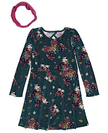 Toddler Girls Long Sleeve Floral Print Velour Dress with Headwrap