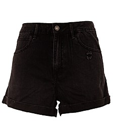 Juniors' High-Rise Mom Denim Shorts