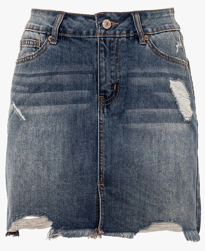 Rewash Juniors' Distressed Raw Hem Denim Mini Skirt